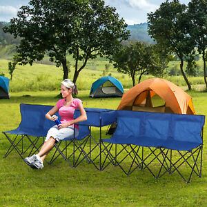 6-Seat Sport Long Bench Camping Seat Folding with Cooler Bag Carrying Case Blue