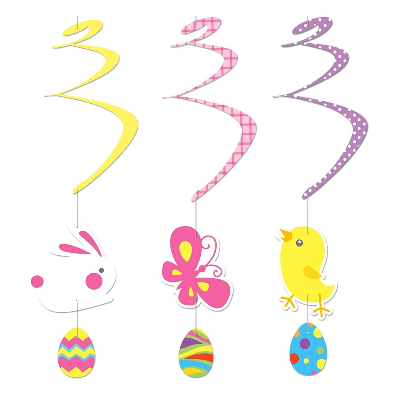 Easter Swirl Paper Hanging Ceiling Decorations Bunny