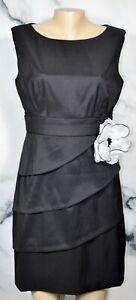 DRESSBARN COLLECTION Black Sleeveless Dress 12P Petite White Flower Accnt Tiered
