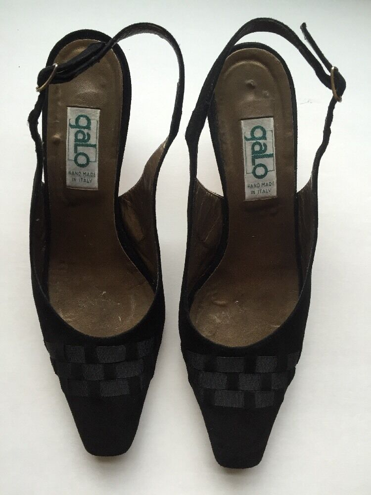 Womens Galo Suede /fabric  Pointed-Toe Slingback Pumps Sz 8 Black