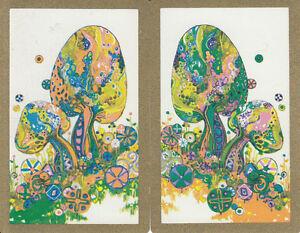 Vintage-Swap-Playing-Cards-2-SINGLE-BRIGHT-FUNKY-RETRO-TOADSTOOLS-MUSHROOMS