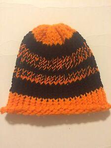 Handmade Crochet Stocking Cap Beanie Watch Cap For Adult Teen Orange