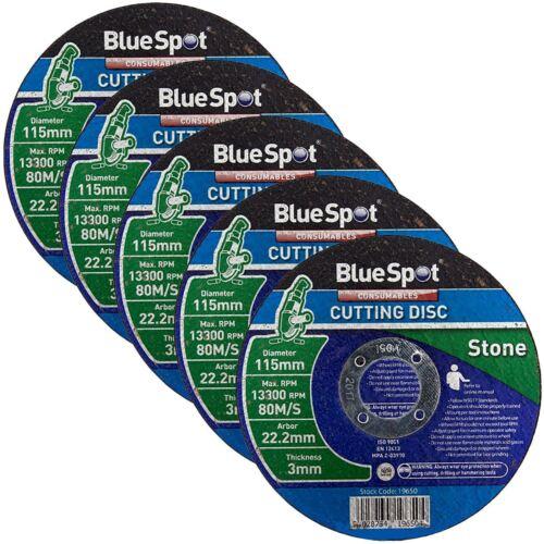 """BlueSpot 5 Pack 115 mm 4.5/"""" stone coupe fente Disques De 3 mm d/'épaisseur en béton"""