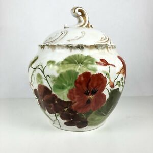 Autumn Antique Limoges France CFH GDM Hand Painted Covered Dish Bowl W Flaws