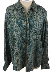 Lizsport Liz Claiborne blouse top size L large rayon green paisley long sleeve
