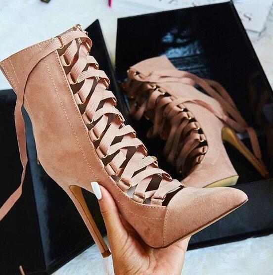 2019 Romano Gamuza Con Huecos Puntera Puntiaguda Puntiaguda Puntiaguda vestido para mujer botas al Tobillo Zapatos De C-2  mejor servicio