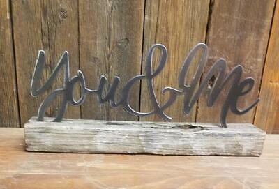 Farmhouse style Mantel sign Shelf sit Metal Family on wood block Home decor