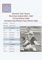 KEN BROWN WEST HAM UNITED 1953-1967 ORIG HAND SIGNED MAGAZINE PICTURE CUTTING