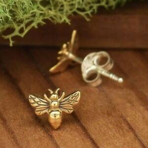 Tiny-Gold-Bronze-Bumblebee-Bumble-Honey-Bee-Studs-Stud-Post-Earrings-Gift