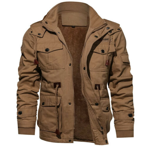 Winter Men Thick Windproof Outerwear Coat Army Military Jacket Hooded Overcoat