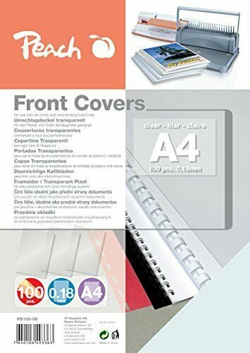 DIN A4 Peach PB100-06 Deckblätter 0.18 mm 100 Stück transparent