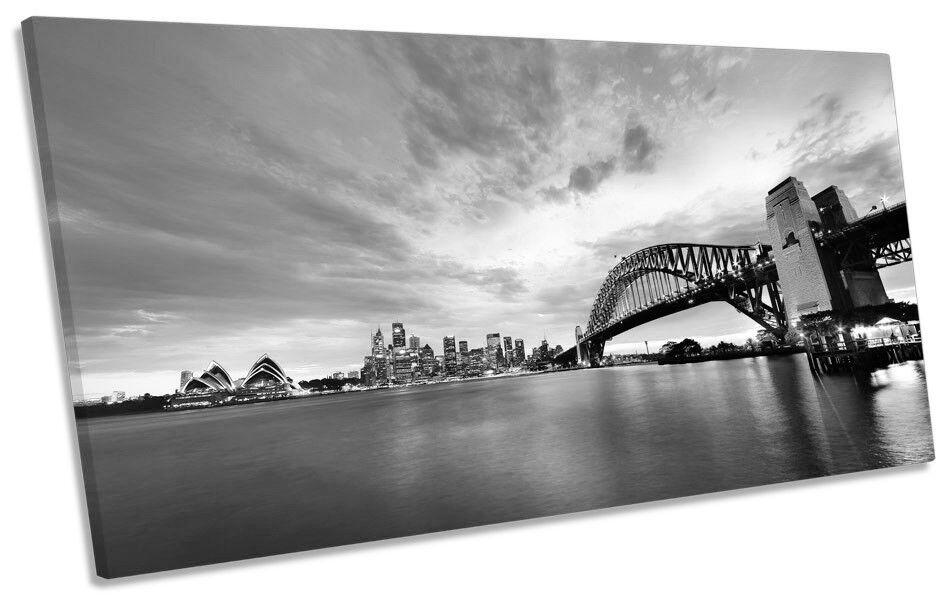 Sydney Skyline Australia B&W Foto Panoramica Tela Wall Art Print