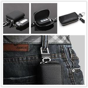 Business-Men-Leather-Car-Keychain-Key-Holder-Bag-Black-Zipper-Case-Remote-NEW-LC