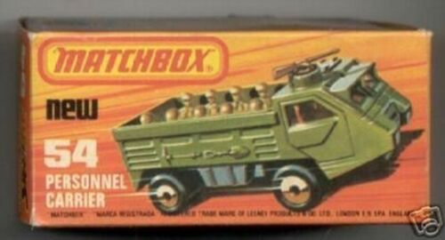 Repro box Matchbox Superfast nº 54 referente al personal Carrier oscuro