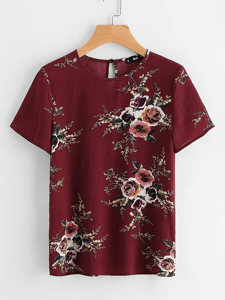 Burgundy Floral Blouse Top size Large