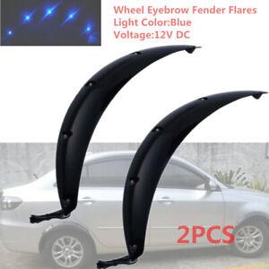 2x-58CM-Black-Car-Fender-Wheel-Eyebrow-Protector-Sticker-w-Cool-Blue-LED-Light