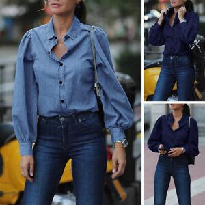 ZANZEA-Femme-Revers-en-Jean-Bouton-Manche-Longue-Couleur-Unie-Chemise-Shirt-Plus