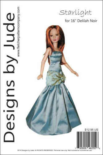 Starlight Gown Doll Clothes Sewing Pattern for 16 Delilah Noir Ashton Drake