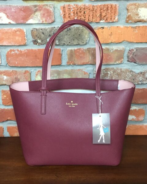 d222ac9cd2c6 Kate Spade Scotts Place Lida Leather Tote Merlot pink Bonnet Wkru4664 for  sale online