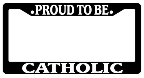 Black License Plate Frame Proud To Be Catholic Auto Accessory Novelty