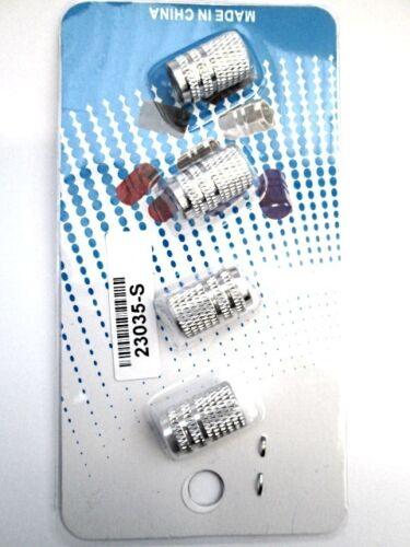 4 X Nuovo Argento in Alluminio VALVOLA PNEUMATICO TAPPI ANTIPOLVERE