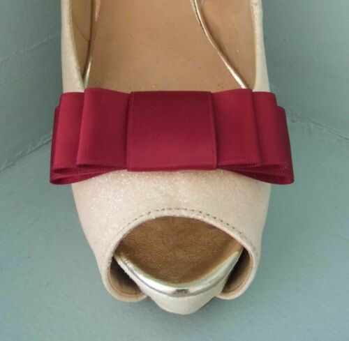 other colours on request 2 Burgundy Red Triple Bow Clips for Shoes