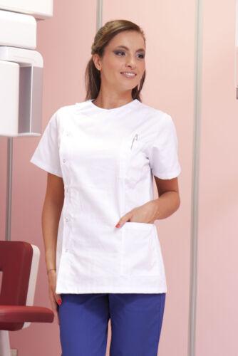 Casacca Medico Donna Divisa Sanitaria Estetista Infermiera da Lavoro Bianca OSS