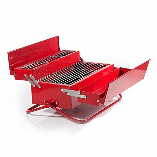 Charcoal BBQ Tool Box Grill For Camping & Outdoor Novelty Red (8