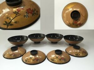 Japanese-Wooden-Bowl-Cup-Vintage-4pc-Lacquer-Ware-Lidded-Makie-Flower-Z104