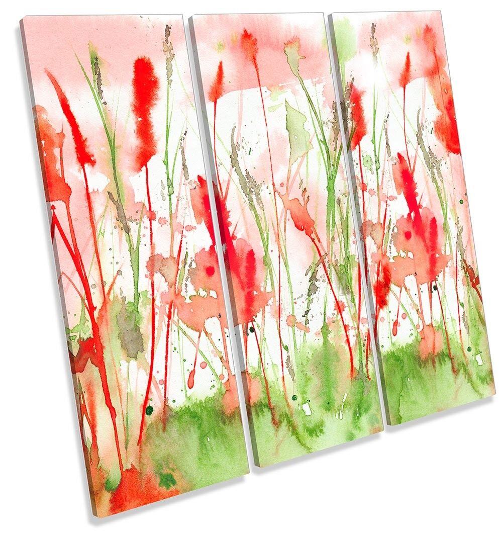rot Floral Flowers Flowers Flowers Watercolour TREBLE CANVAS WALL ARTWORK Print Art 116bcc