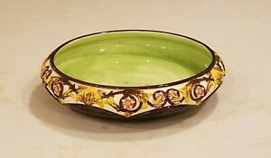 Vintage Czechoslovakia Czech Pottery Console Bowl Brown Yellow Pink Green Floral
