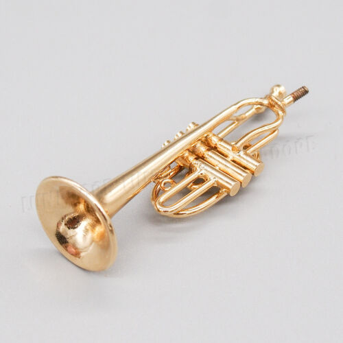 1:12 Miniature Musical Instrument Cornet w// Case /& Stand Goldtone Dollhouse Gift