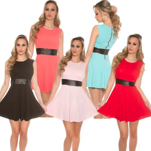 Jersey Minikleid Mini Kleid A-Linie Partykleid ZipperHochzeit Fest Party S 34 36
