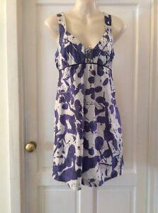 FIRETRAP-Blue-amp-White-Cotton-Summer-Abstract-Print-Tunic-Dress-SIZE-XL