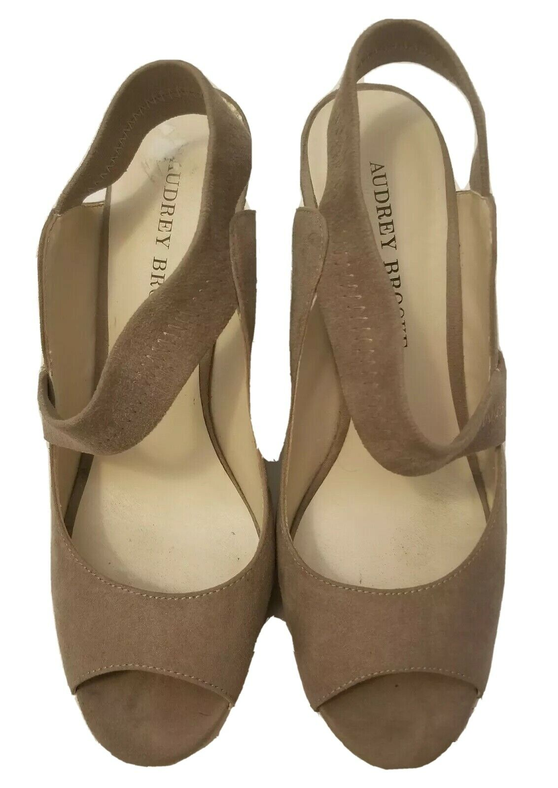 Audrey Brooke Strappy Suede and Cork Wedge heels Taupe Tan Size 8
