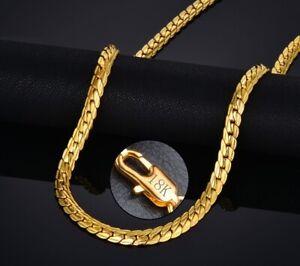 18k-Yellow-Gold-Men-039-s-Women-039-s-Wide-6mm-Cuban-Link-Chain-Necklace-w-GiftPkg-D517G