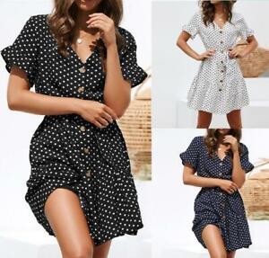 Womens-Short-Sleeve-Boho-Polka-Dot-V-Neck-Irregular-Dress-Summer-Beach-Sundress