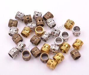 20-50-100Pcs-Antique-Tibetan-Silver-TUBE-Big-Hole-Spacer-Beads-5MM-Hole-CA3020
