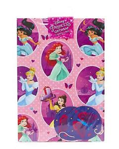 DISNEY-PRINCESS-2-SHEETS-OF-GIFT-WRAP-amp-2-GIFT-TAGS-CINDERELLA-ARIEL-BELLE-NEW