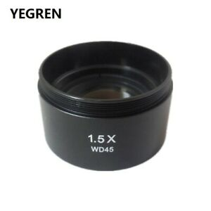 1-5X-Barlow-auxiliaire-Objectif-Lentille-pour-stereo-microscope-distance-de-travail-45-mm