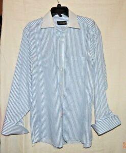 Donald-J-Trump-Signature-Collection-Mens-Shirt-French-Cuffs-White-w-Blue-Stripe