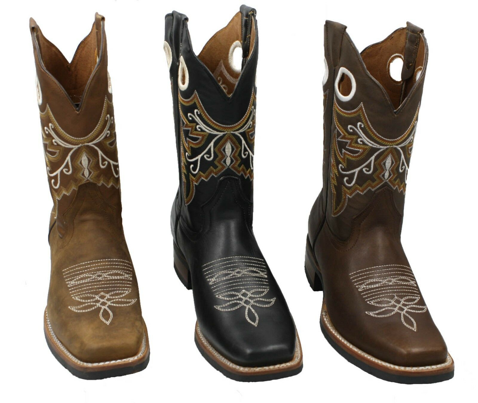 hommes RODEO COWBOY bottes GENUINE LEATHER WESTERN SQUARE TOE bottes-CARR 360