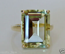 Beautiful 9ct Gold Green Amethyst Ring Size P