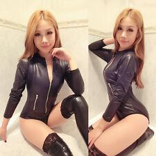 Women Wetlook Vinyl Black PVC Teddies Catsuit Uniform Bodysuit Jumpsuit Costume