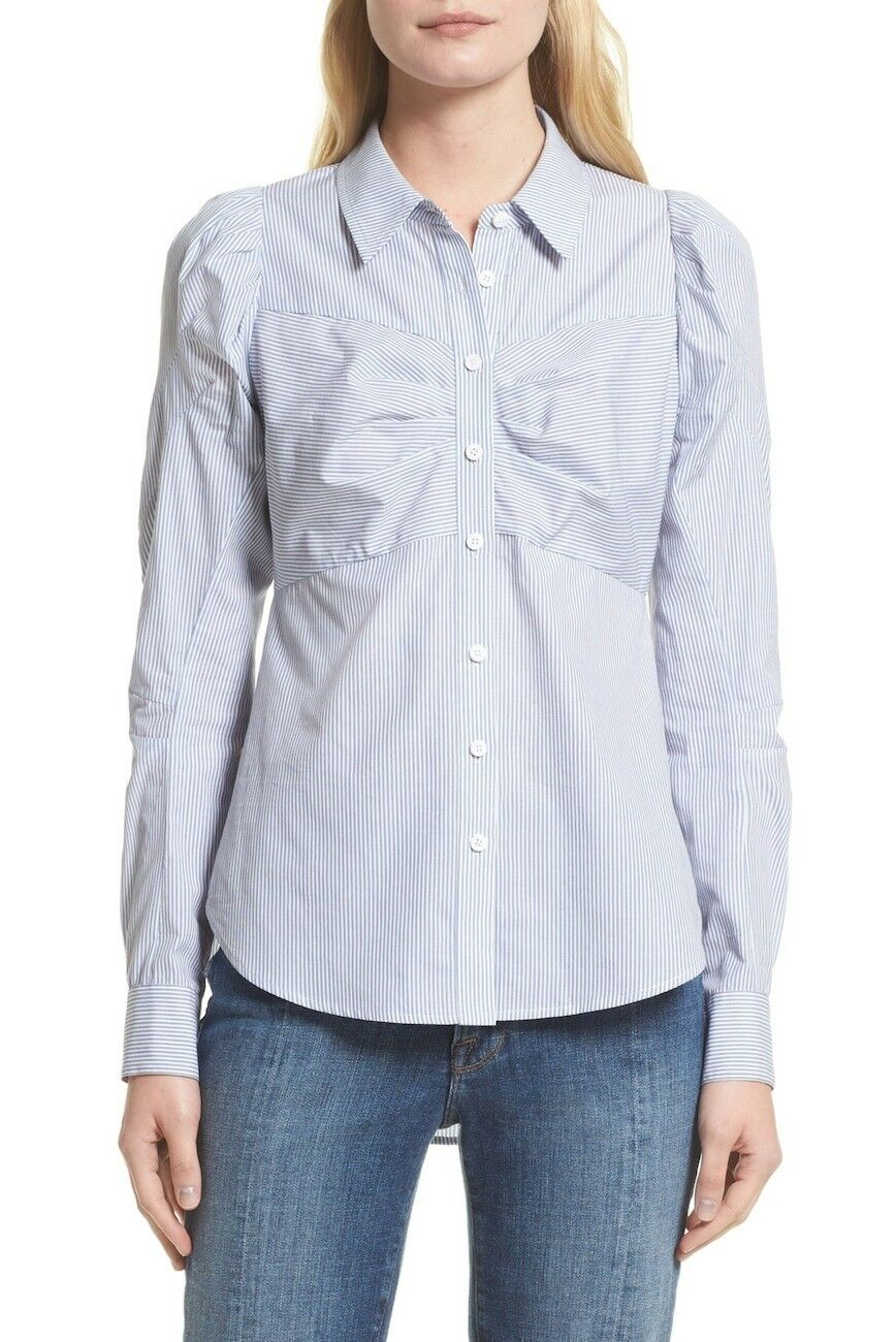 NEW Veronica Beard Canteen Puff Sleeve Blouse in Blau Weiß - Größe 6  T151
