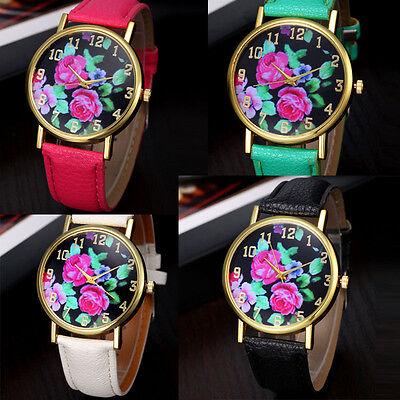 Fashion Vogue Women's Leather Rose Floral Printed Analog Quartz Wrist Watch HOT