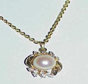 14K-7mm-Pearl-16-Diamond-Pendant-Necklace-16-034-Yellow-Gold-Vintage-Pearl-Huge