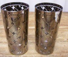 2 Silver Clear Criss Cross X Glass Tumbler Mid Century MOD Vintage Basket Weave