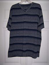 Courage Clothing Co Men's Shirt XXL Striped Blue/Grey Short Sleeve V-Neck