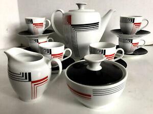 17-pc-CP-GERMANY-Orange-Black-Geometric-Coffee-Teapot-Creamer-Sugar-COMPLETE-Set